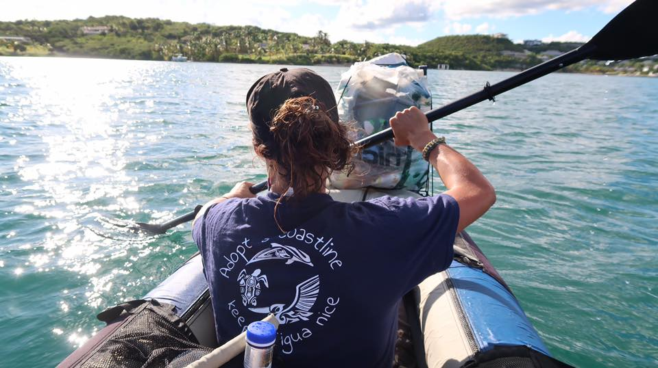 Doing beach clean-ups by kayak in Antigua and Barbuda. Credit: Adopt a Coastline
