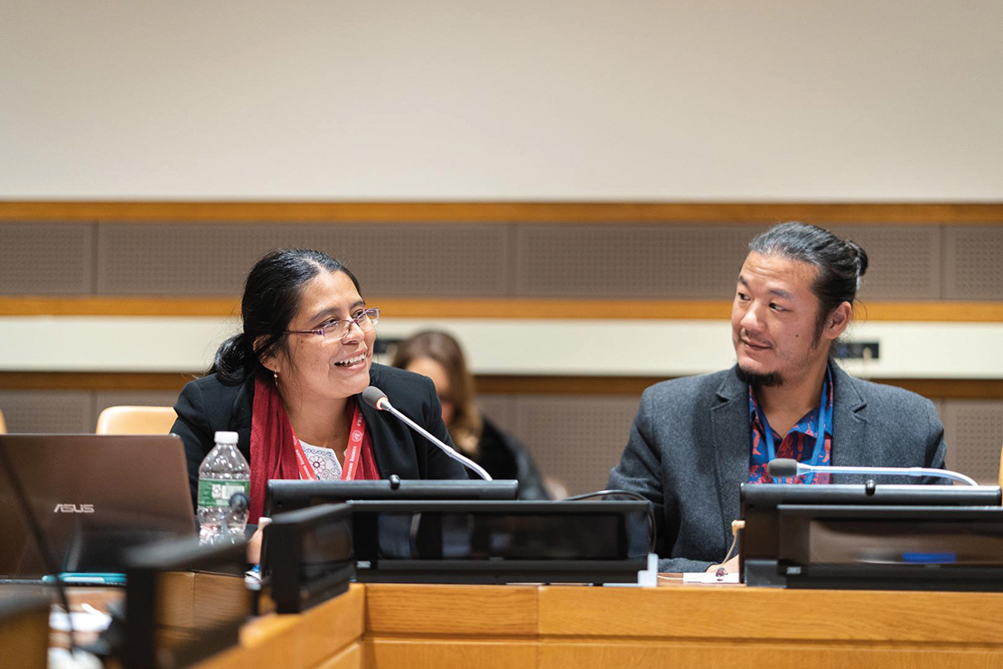 A Maya Q'eqchi attorney addresses the United Nations Permanent Forum on Indigenous Peoples Issues. Credit: Jamie Malcolm-Brown.